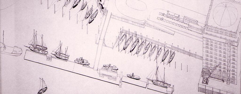 Museumshafen Oevelgönne, Entwurfsskizze 1988